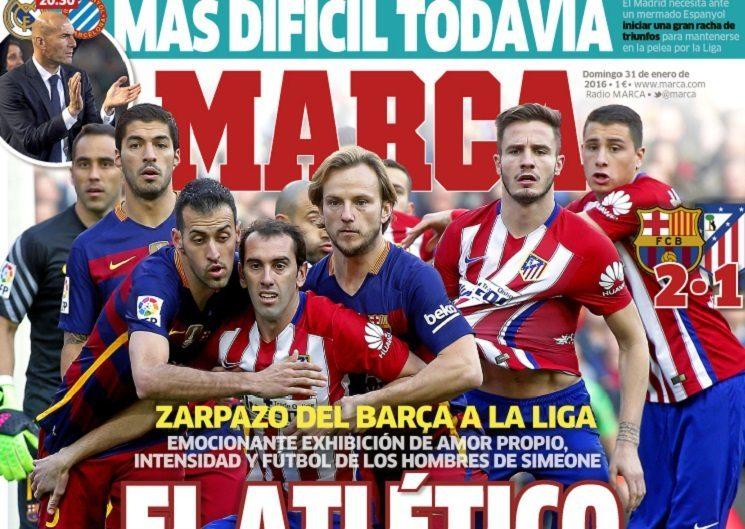 marca 6 - أبرز عناوين صحف اسبانيا اليوم الاحد 31-1-2016