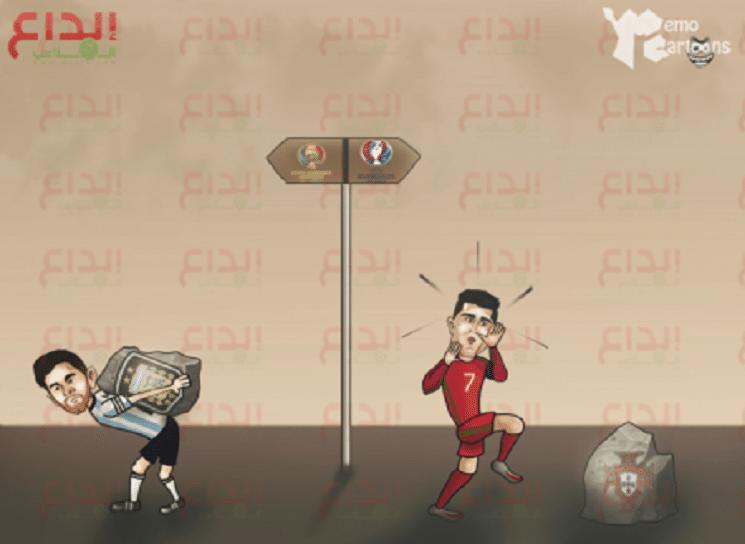 كاريكاتير بالجول: حال ميسي في كوبا اميركا و رونالدو في اليورو
