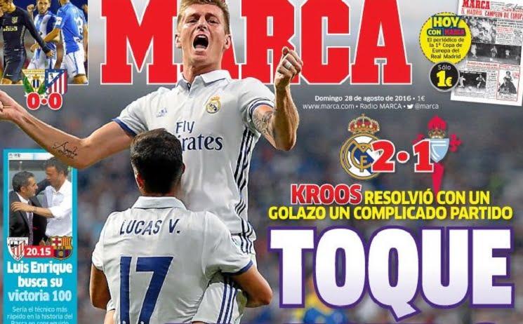 marca 1 - أبرز عناوين صحف اسبانيا الصادرة اليوم الاحد 28-8-2016