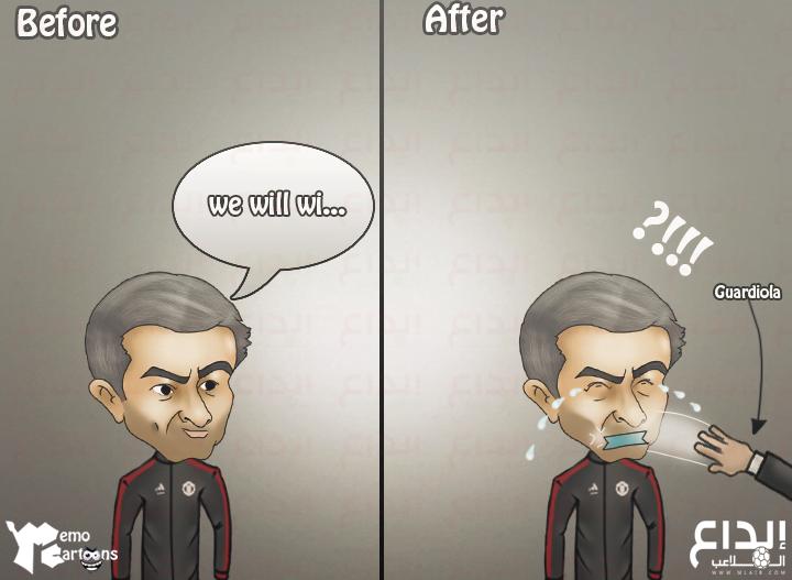 كاريكاتير إبداع الملاعب: غوارديولا يصفع مورينيو في ديربي مانشستر