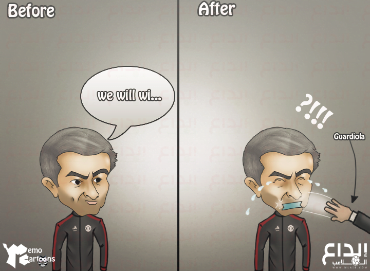 كاريكاتير بالجول: غوارديولا يصفع مورينيو في ديربي مانشستر