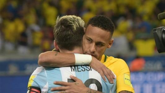neymar lionel messi argentina brazil wj7fplcqsaot1l334wu06246u - رد فعل نيمار على صعود ميسي للمونديال