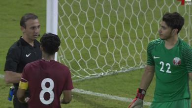 390x220 - بالفيديو: طرد حارس منتخب قطر و لاعب قطري يتصدى لضربات الترجيح