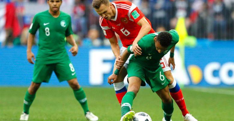 لقطة من مباراة روسيا و السعودية