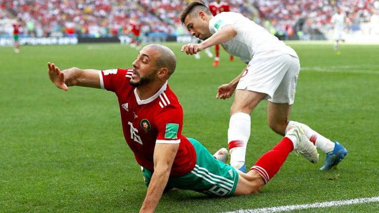 لقطة من مباراة البرتغال و المغرب