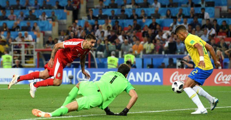 لقطة من مباراة البرازيل و صربيا