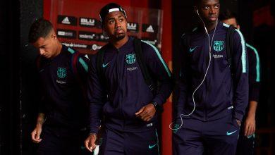 ديمبلي مع زملائه في برشلونة