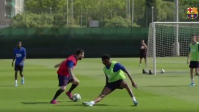Photo of ميسي يسقط دفاع برشلونة في تدريبات الفريق اليوم
