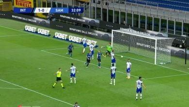 صورة هدف انتر ميلان الثاني في مرمى سامبدوريا 2-0 الدوري الايطالي
