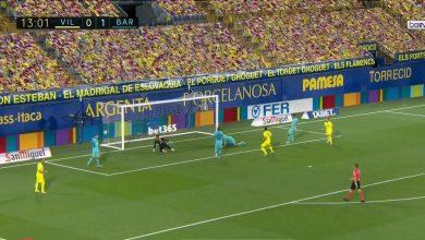 صورة هدف فياريال في مرمى برشلونة 1-1 الدوري الاسباني