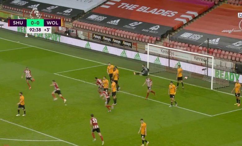 صورة هدف شيفيلد القاتل في مرمى وولفرهامبتون 1-0 الدوري الانجليزي
