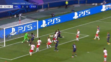 صورة هدف باريس سان جيرمان الأول في مرمى لايبزيغ 1-0 دوري ابطال اوروبا