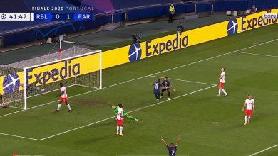 صورة هدف باريس جيرمان الثاني في مرمى لايبزيج 2-0 دوري ابطال اوروبا
