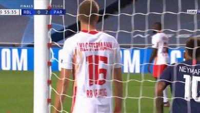 صورة هدف باريس جيرمان الثالث في مرمى لايبزيج 3-0 دوري ابطال اوروبا