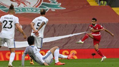 صورة هدف محمد صلاح الثاني الصاروخي في مرمى ليدز يونايتد 3-2 الدوري الانجليزي