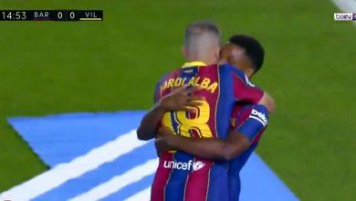 هدف برشلونة الاول في مرمى فياريال 1-0 تعليق حفيظ دراجي