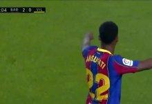 صورة هدف برشلونة الثاني في مرمى فياريال 2-0 تعليق حفيظ دراجي