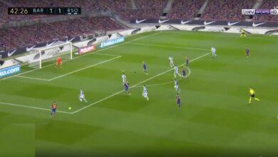 هدف برشلونة الثاني في مرمى ريال سوسيداد 2-1 الدوري الاسباني