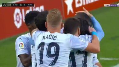 هدف فالنسيا الاول في مرمى برشلونة 1-0 الدوري الاسباني