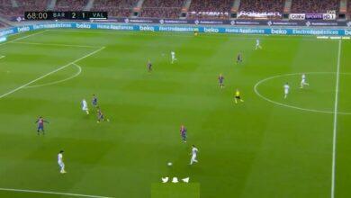 هدف فالنسيا الثاني في مرمى برشلونة 2-2 الدوري الاسباني