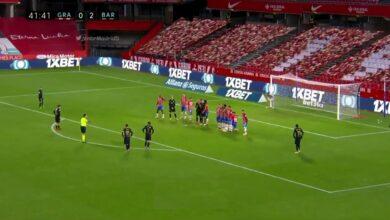 هدف ميسي الثاني العالمي في مرمى غرناطة 3-0 الدوري الاسباني