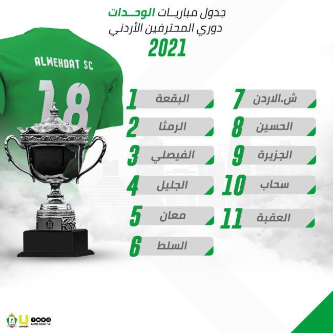 جدول مباريات الوحدات موسم 2021