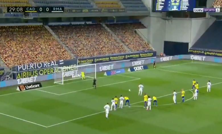 هدف ريال مدريد الاول في مرمى قاديش 1-0 الدوري الاسباني