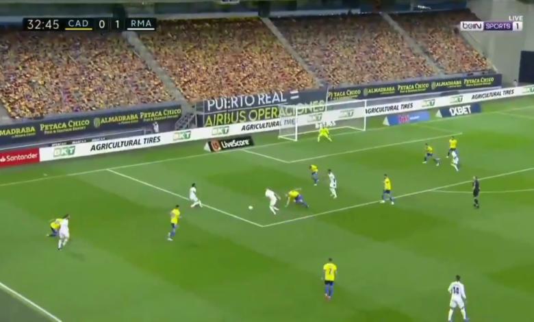 هدف ريال مدريد الثاني في مرمى قاديش 2-0 الدوري الاسباني
