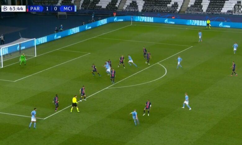 هدف كيفين دي بروين في مرمى باريس سان جيرمان 1-1 دوري ابطال اوروبا