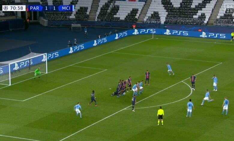 هدف رياض محرز في مرمى باريس سان جيرمان 2-1 دوري ابطال اوروبا