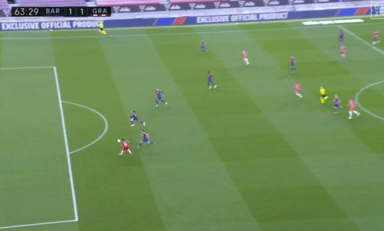 هدف غرناطة الأول في مرمى برشلونة 1-1 الدوري الاسباني