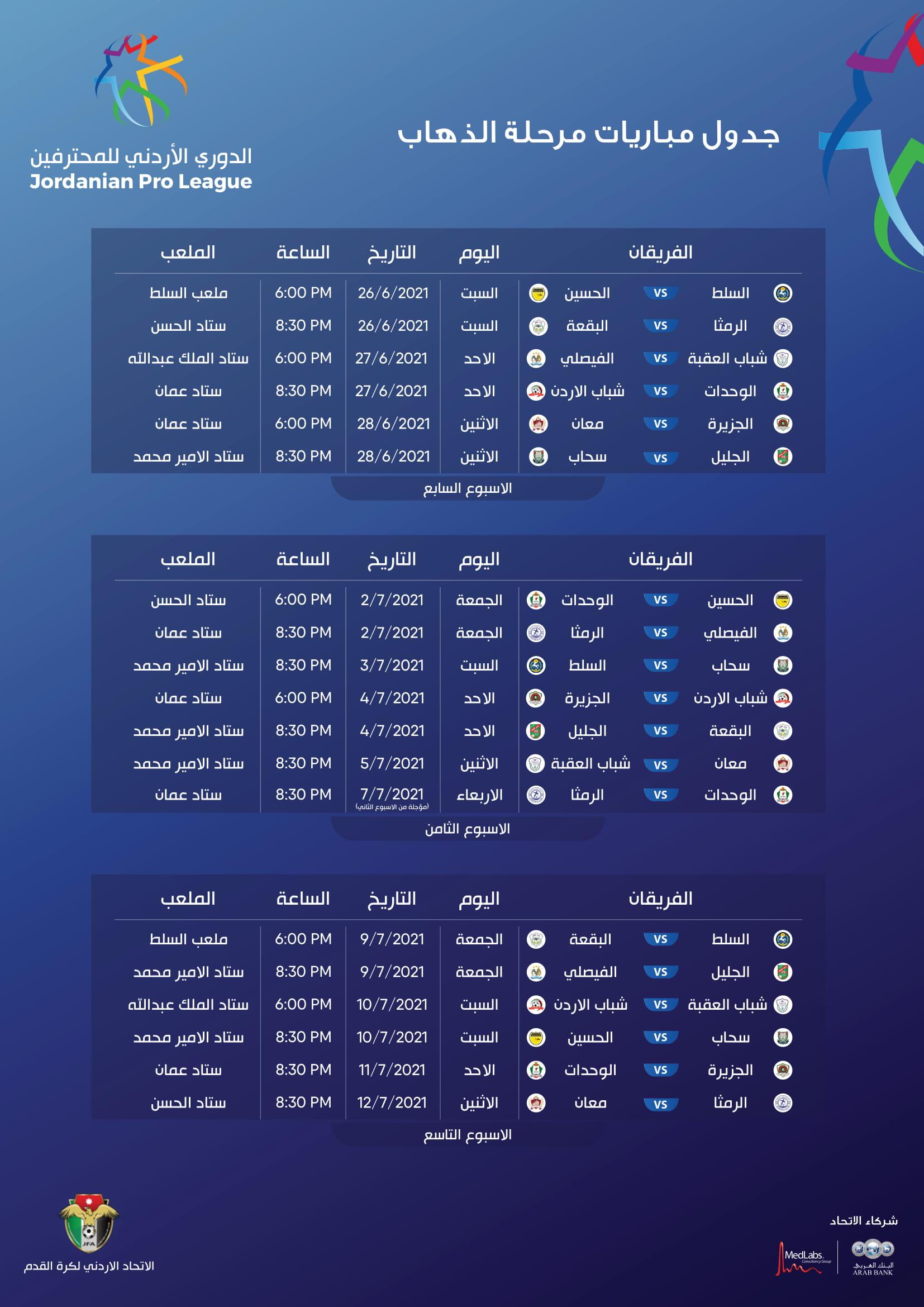 اتحاد الكرة الأردني يعيد جدولة مباريات الذهاب في الدوري