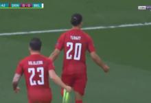 هدف الدنمارك الأول في مرمى بلجيكا 1-0 يورو 2020