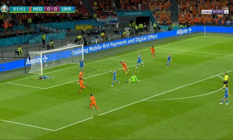 هدف هولندا الأول في مرمى اوكرانيا 1-0 يورو 2020