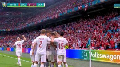 هدف الدنمارك الثالث في مرمى ويلز 3-0 يورو 2020