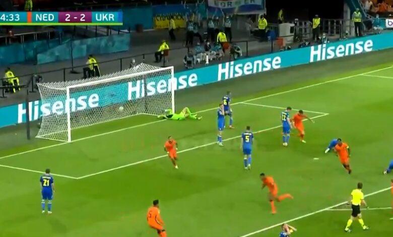 هدف هولندا الثالث في مرمى اوكرانيا 3-2 يورو 2020