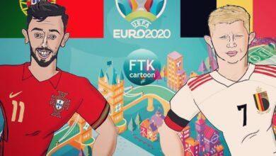 كاريكاتير   مباراة بلجيكا والبرتغال في يورو 2020
