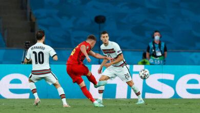 هدف بلجيكا الاول في مرمى البرتغال 1-0 يورو 2020