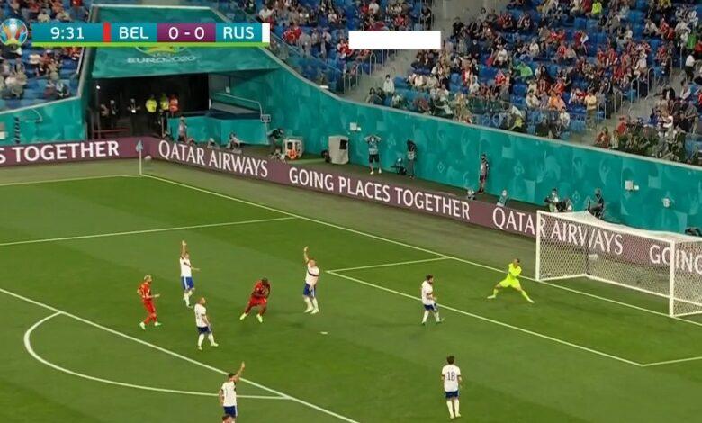 هدف لوكاكو في مرمى روسيا 1-0 يورو 2020