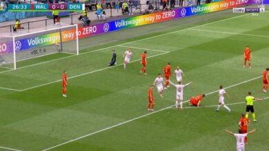 هدف الدنمارك الثاني في مرمى ويلز 2-0 يورو 2020