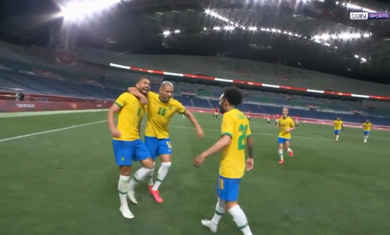 هدف البرازيل الأول في مرمى مصر 1-0 اولميياد طوكيو