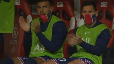 رد فعل ميسي على هدف باريس سان جيرمان الاول ضد ريمس