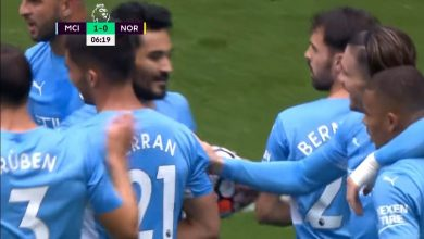 هدف مانشستر سيتي الاول ضد نوريتش سيتي 1-0 الدوري الانجليزي