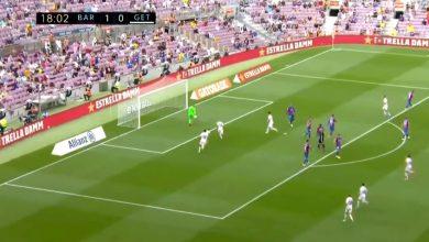 هدف خيتافي الاول في مرمى برشلونة 1-1 الدوري الاسباني