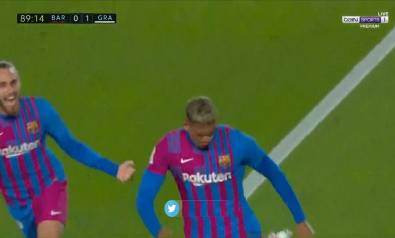 هدف برشلونة الاول ضد غرناطة 1-0 الدوري الاسباني