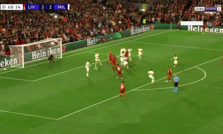 هدف ليفربول الثالث ضد ميلان 3-2 دوري ابطال اوروبا
