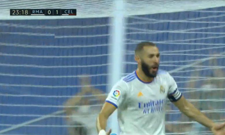 هدف كريم بنزيما ضد سيلتا فيجو 1-1 الدوري الاسباني