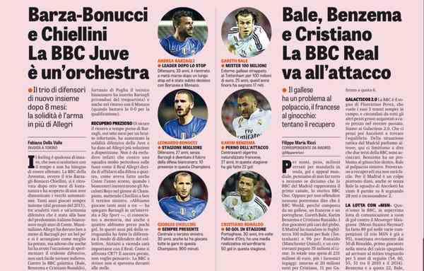 bbc 4 25 2015 - BBC ريال مدريد في صراع خاص مع BBC يوفنتوس